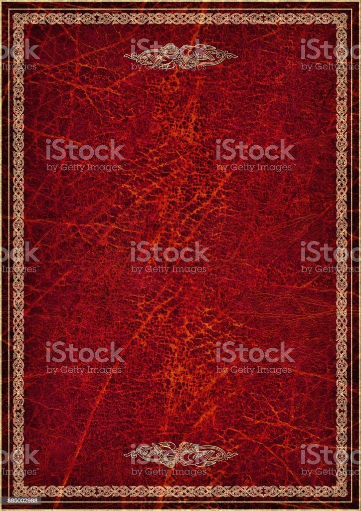High Resolution Golden Decorative Medieval Tracery On Deep Garnet Red Wizened Animal Skin Parchment Vignette Grunge Background Texture stock photo