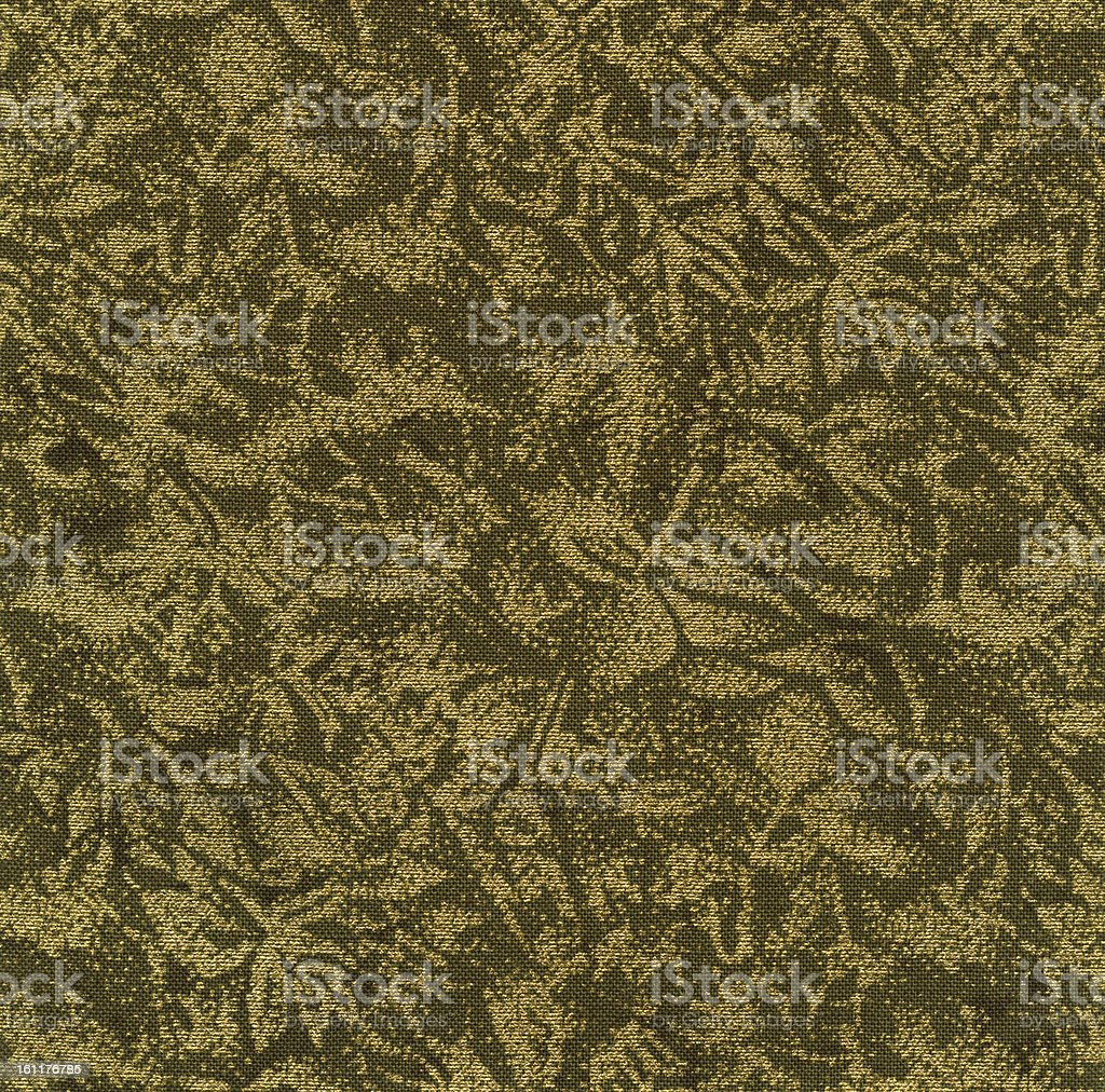 High Resolution Green and Gold Fabric with Floral Pattern Background royalty-free stock photo