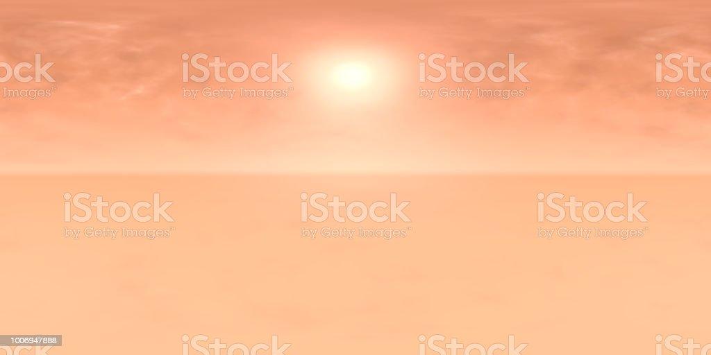 hochauflösende HDRI-Map: Umgebungsmap für Equirectangular Projection, sphärischen Panorama, 3d Illustration Hintergrund, 8k (Sonne in einem staubigen Himmel auf einem fremden Planeten) – Foto