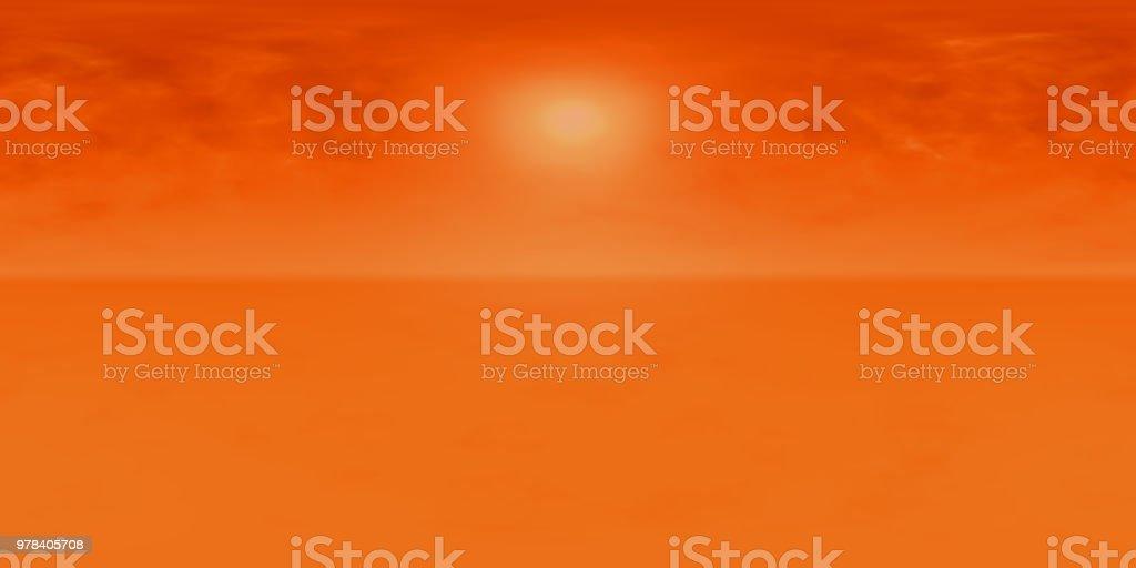 hochauflösende HDRI-Map: Umgebungsmap für Equirectangular Projection, sphärischen Panorama, 3d Illustration Hintergrund, 8k (Sonne in einem lebhaften orangefarbenen Himmel auf einem fremden Planeten) – Foto