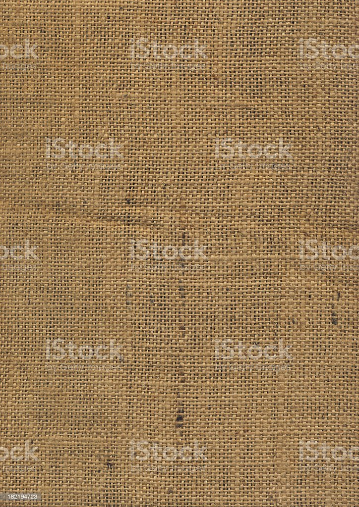 High Resolution Jute Wrinkled Grunge Texture Sample royalty-free stock photo