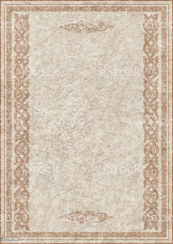 High Resolution Medieval Ornamental Decorative Frame On Beige Animal Skin Parchment Grunge Background stock photo