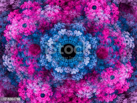 istock High resolution multi-colored fractal background, which patterns remind of a flower bouquet. 1018364788