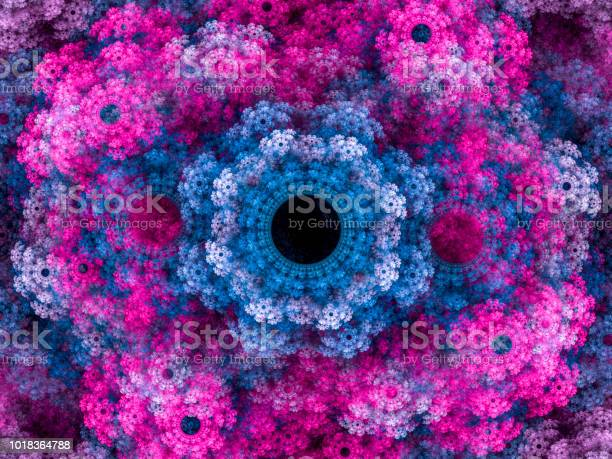 Photo of High resolution multi-colored fractal background, which patterns remind of a flower bouquet.