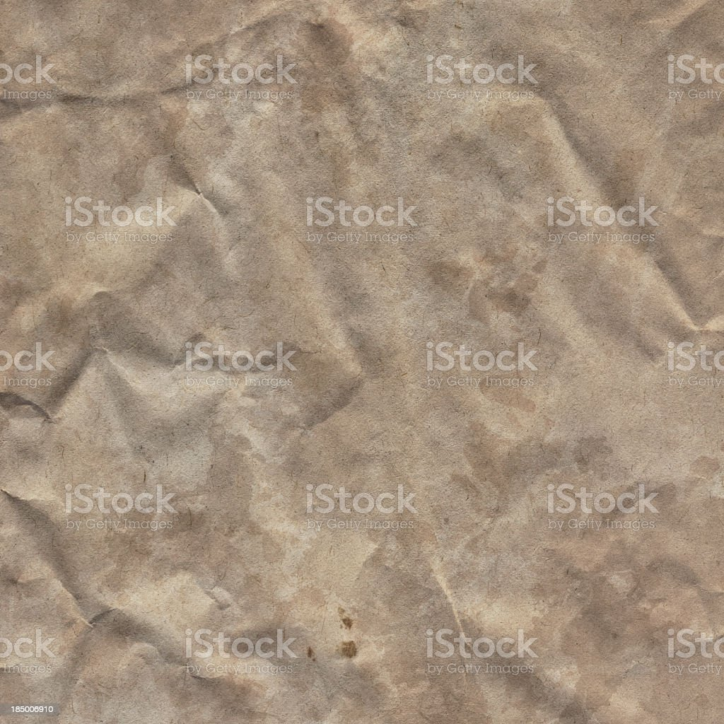 High Resolution Old Brown Kraft Paper Crumpled Grunge Texture royalty-free stock photo