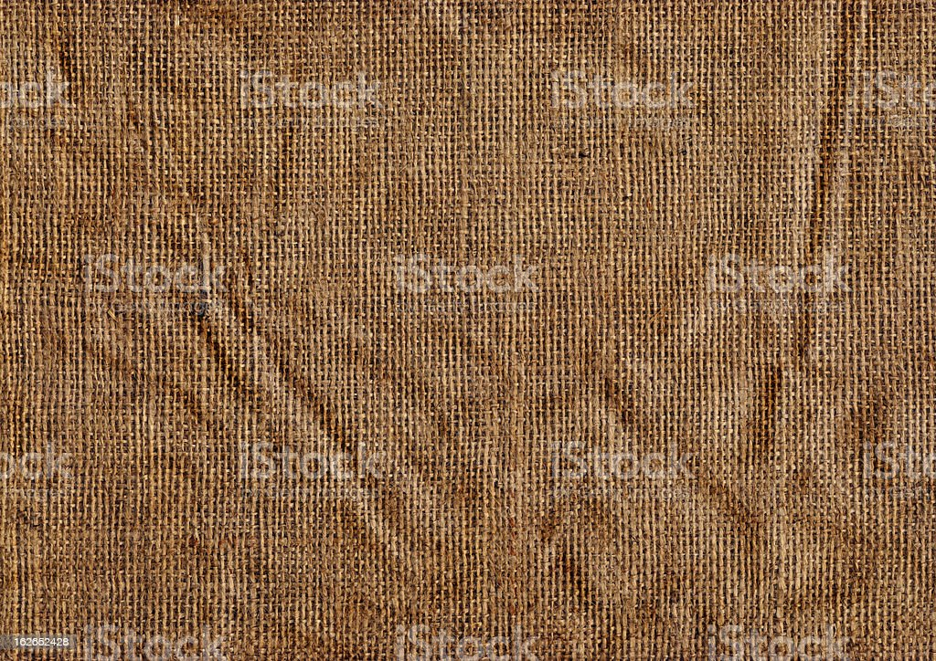 High Resolution Old Coarse Jute Canvas Crumpled Grunge Texture royalty-free stock photo