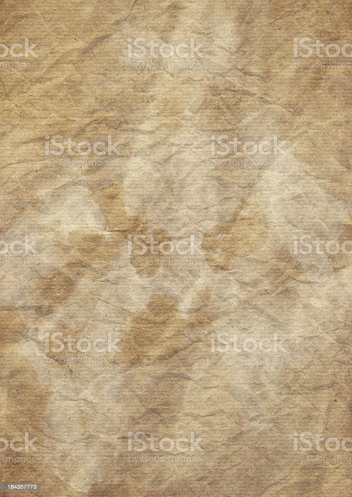 High Resolution Old Recycled Brown Lined Paper Crushed Grunge Texture royalty-free stock photo