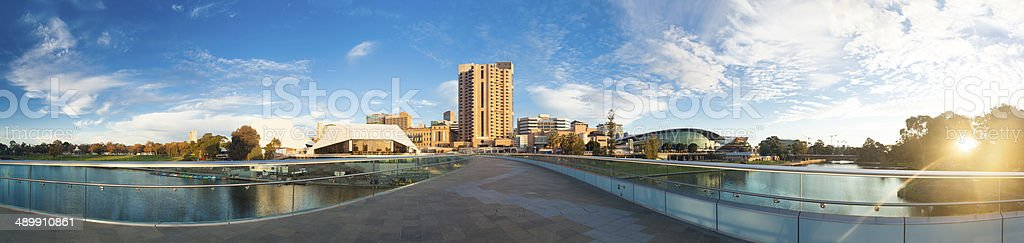 High resolution panorama of Adelaide city at sunset stock photo
