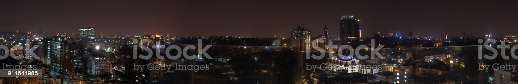 High Resolution Panorama of Downtown Bangalore At Nigh Fall stock photo