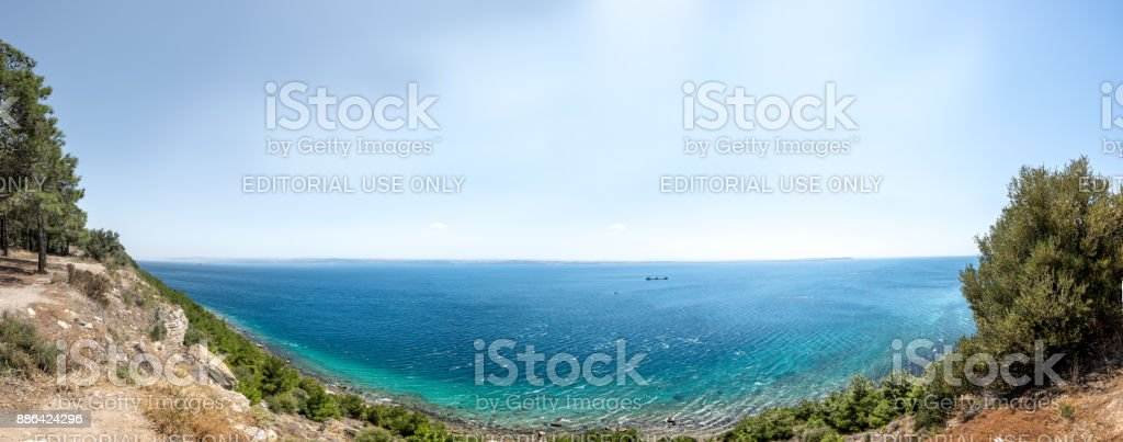 High Resolution panoramic view of Canakkale from Martyrs' Memorial area for Turkish soldiers who participated at the Battle of Gallipoli.TURKEY, Canakkale. stock photo