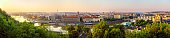 Panoramic view of bridges in Prague from Letna Park
