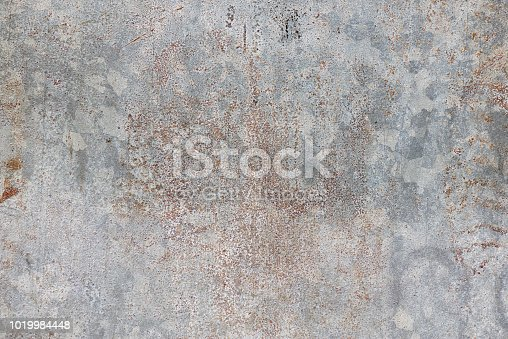 Galvanized steel surface in bad conditions, gray metal background.