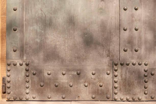 Hochauflösendes Foto einer alten Metalltür mit Zweigschatten – Foto