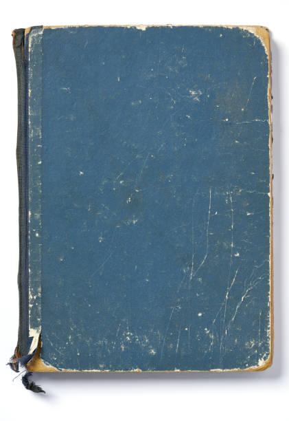 Hochauflösendes Foto eines sehr alten blauen Taschenbuchs – Foto