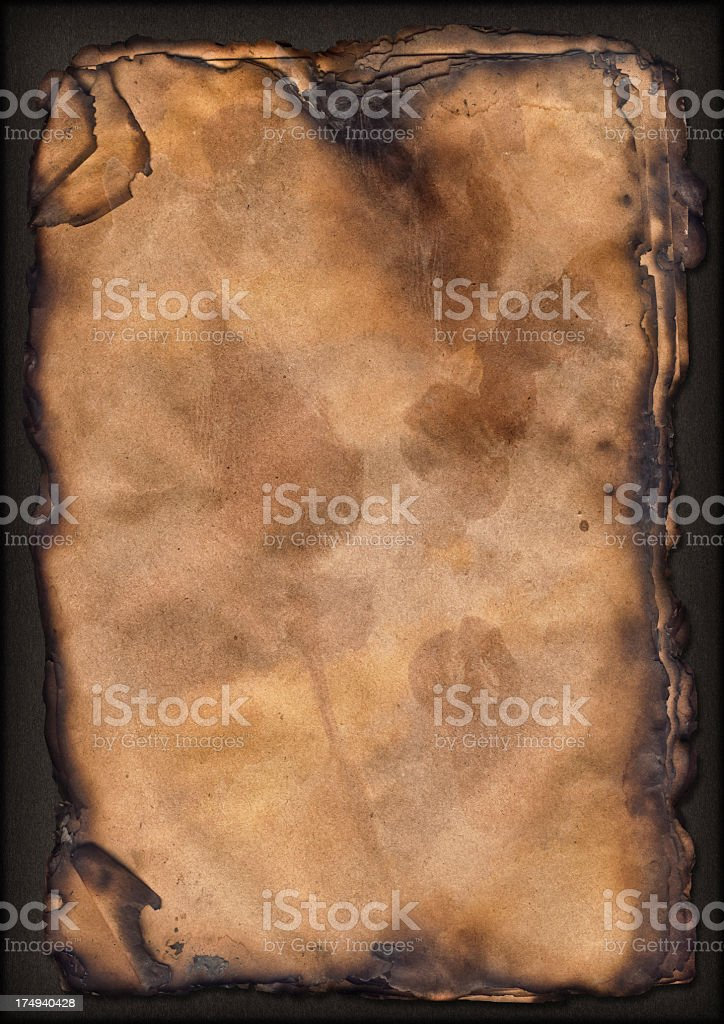 High Resolution Pile of Burnt Paper Sheets Vignette Grunge Texture royalty-free stock photo