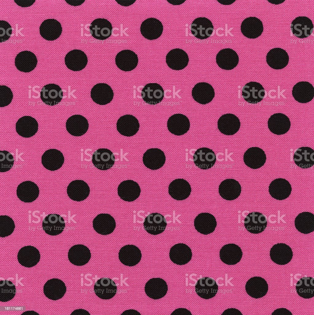 High Resolution Pink Black Polka Dot Fabric Texture and Backgrounds royalty-free stock photo