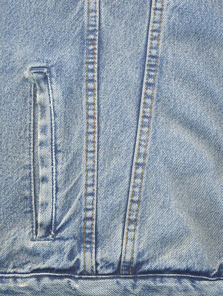 High Resolution Powder Blue Denim Jacket Detail stock photo