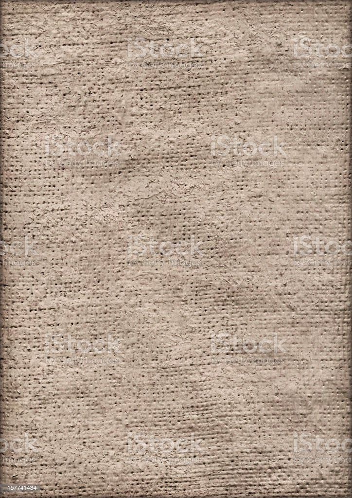High Resolution Primed Jute Canvas Crumpled Vignette Grunge Texture royalty-free stock photo
