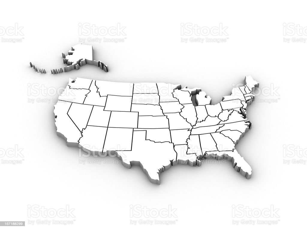 Usa High Resolution Rendered Map Stock Photo - Download ...