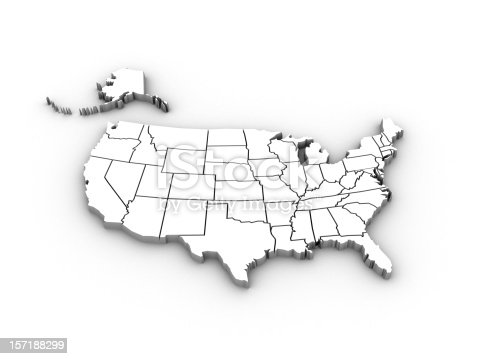 Usa High Resolution Rendered Map Stock Photo IStock - Us map high resolution