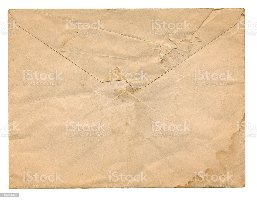 high resolution scan of an old envelope with water stains royalty-free stock photo