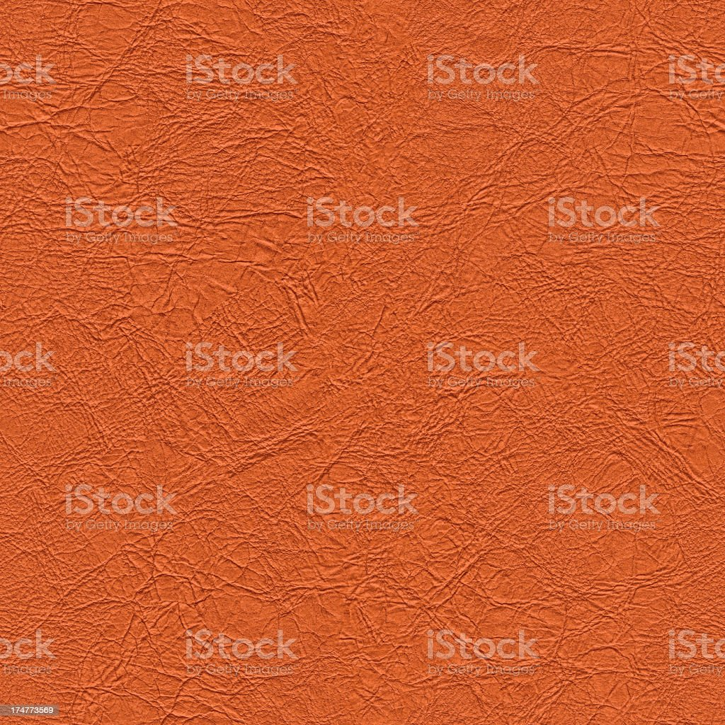 High Resolution Seamless Orange Artificial Eco Leather Crumpled Texture stock photo