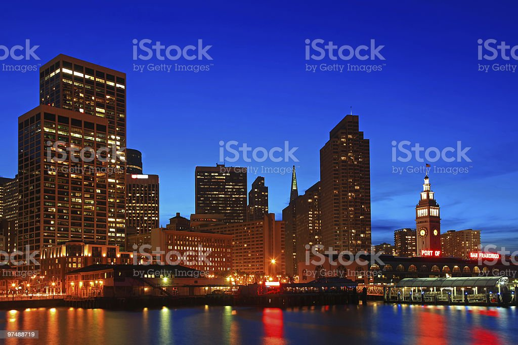 High Resolution - The Skyline of San Francisco at night royalty-free stock photo