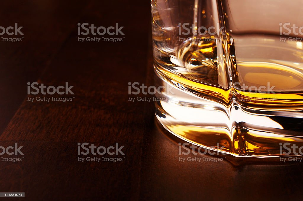 High resolution view of glass with whiskey royalty-free stock photo
