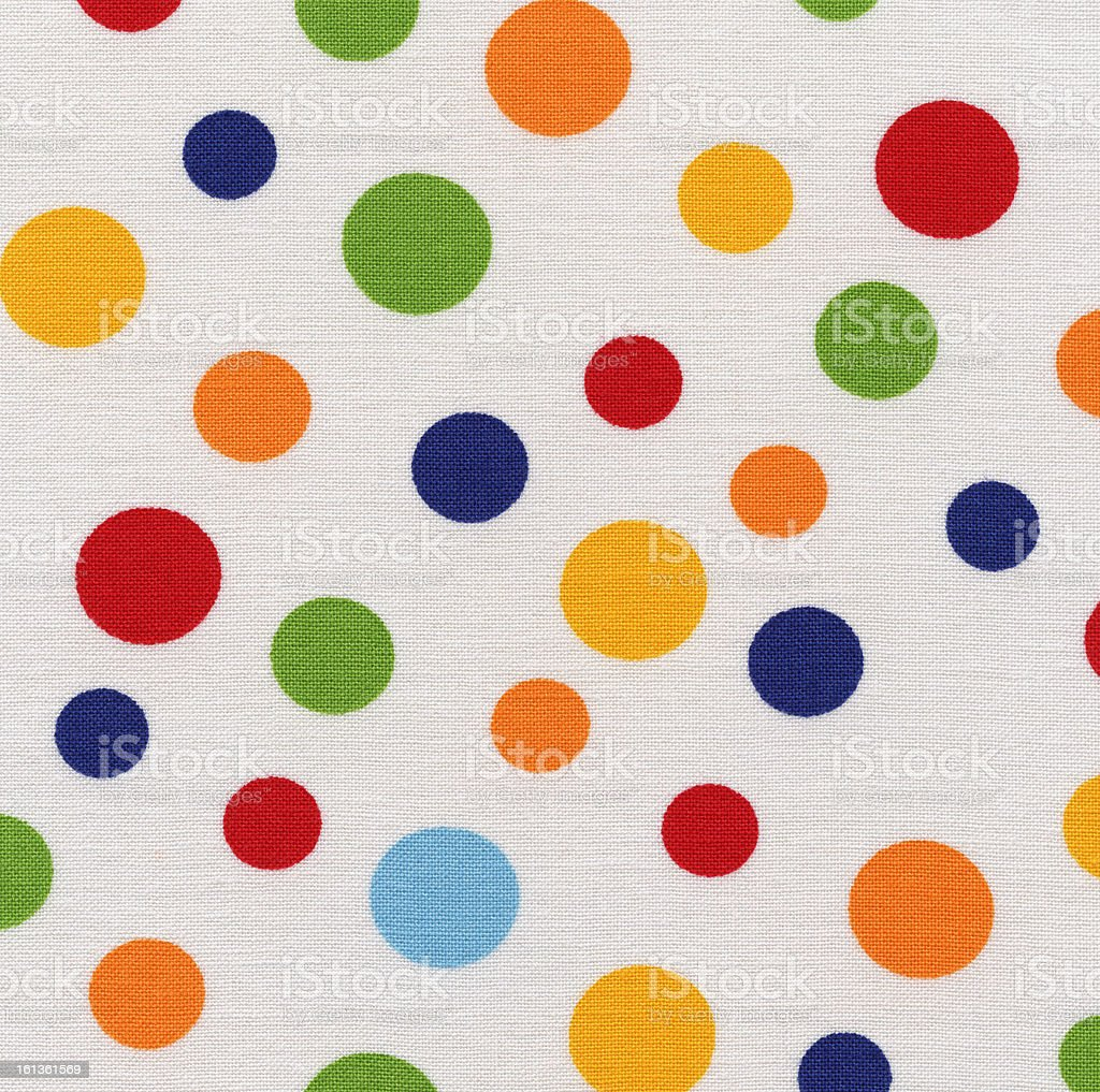 High Resolution White Fabric Colorful Polka Dots Texture and Backgrounds royalty-free stock photo