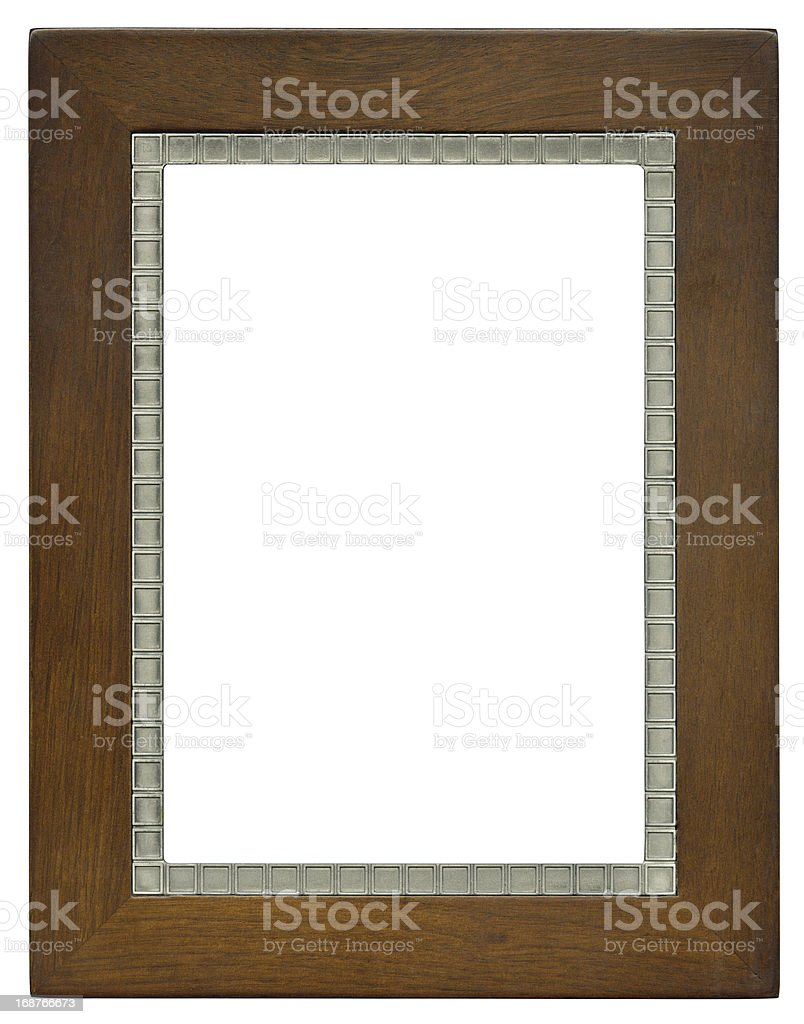 High Resolution Wood and Metal Photo Frame stock photo