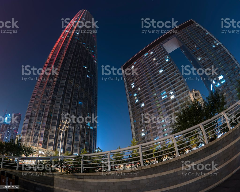 high rise building at night royalty-free stock photo