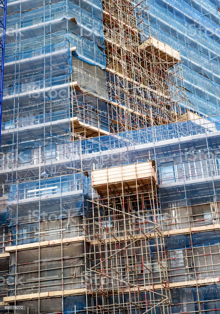 High Rise Building with Scaffolding stock photo