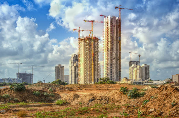High rise buildings construction site in Bat Yam stock photo