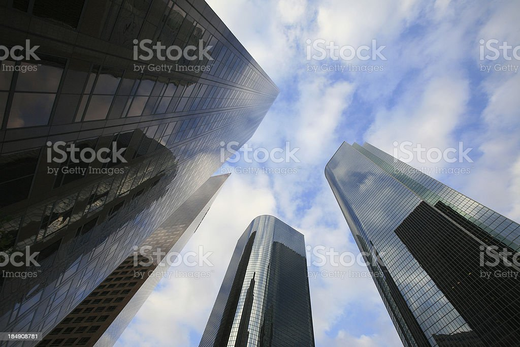 LA High Rise Buildings under patchy cloudy sky royalty-free stock photo