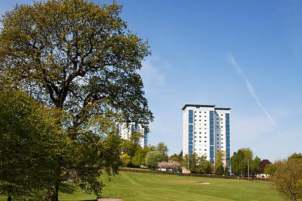 High Rise Housing Beside Parkland In Falkirk, Scotland. stock photo