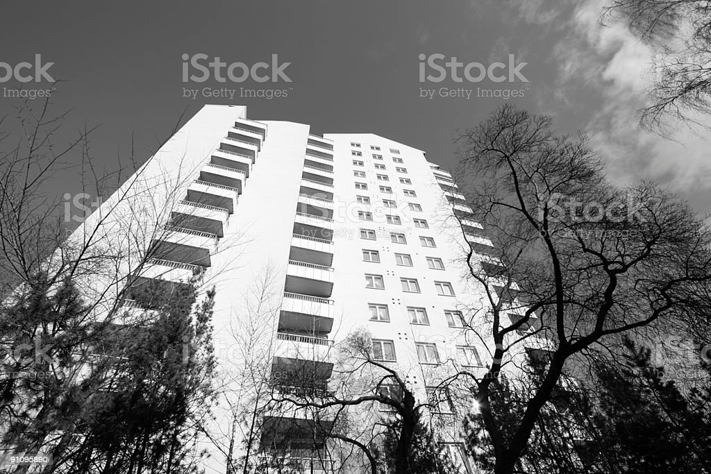 High rise in black and white royalty-free stock photo