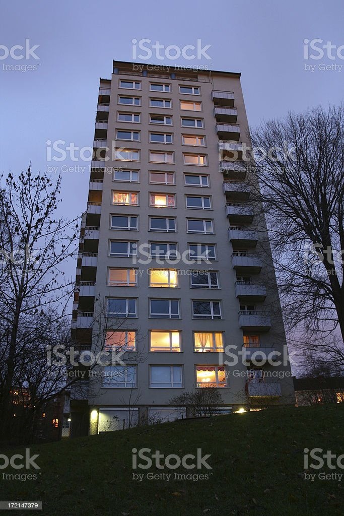 High rise into night royalty-free stock photo