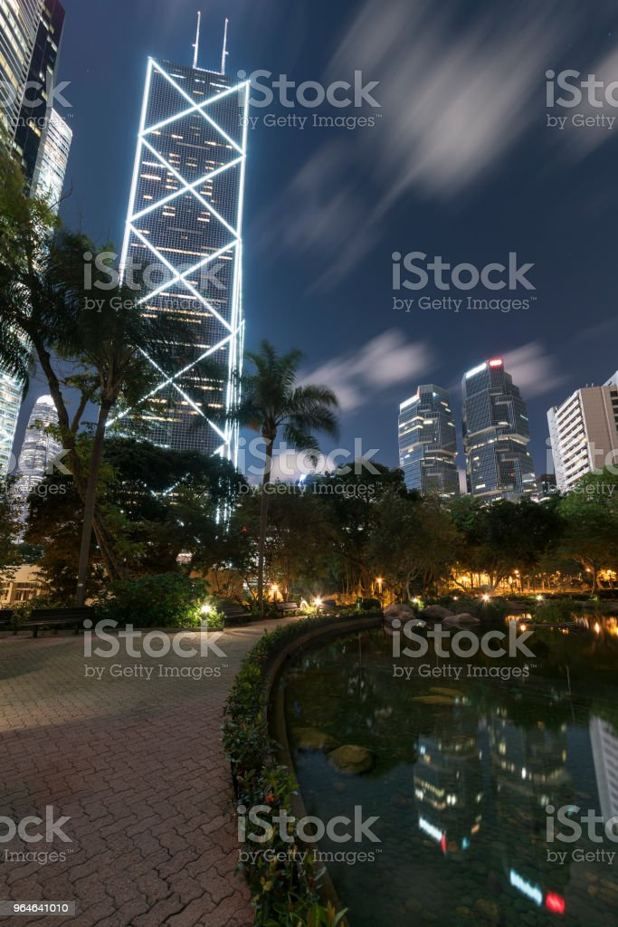 High rise modern office building in Hong Kong city at night royalty-free stock photo