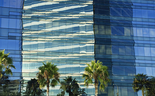 high rise reflection stock photo