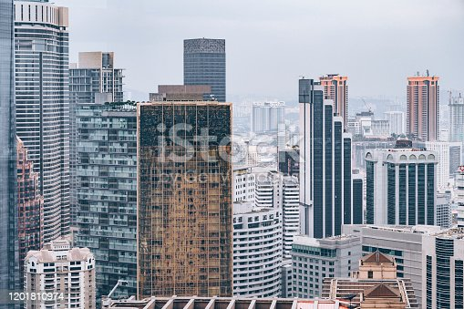 Aerial view of the skyline with high rise skyscrapers at Kuala Lumpur, Malaysia.