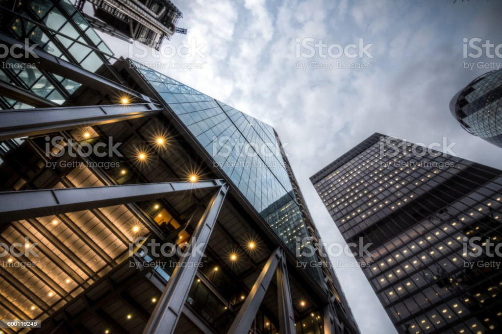 High rises in the City of London on a cloudy day stock photo