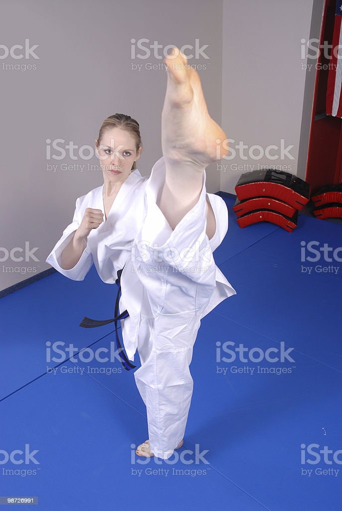 High roundhouse kick royalty-free stock photo