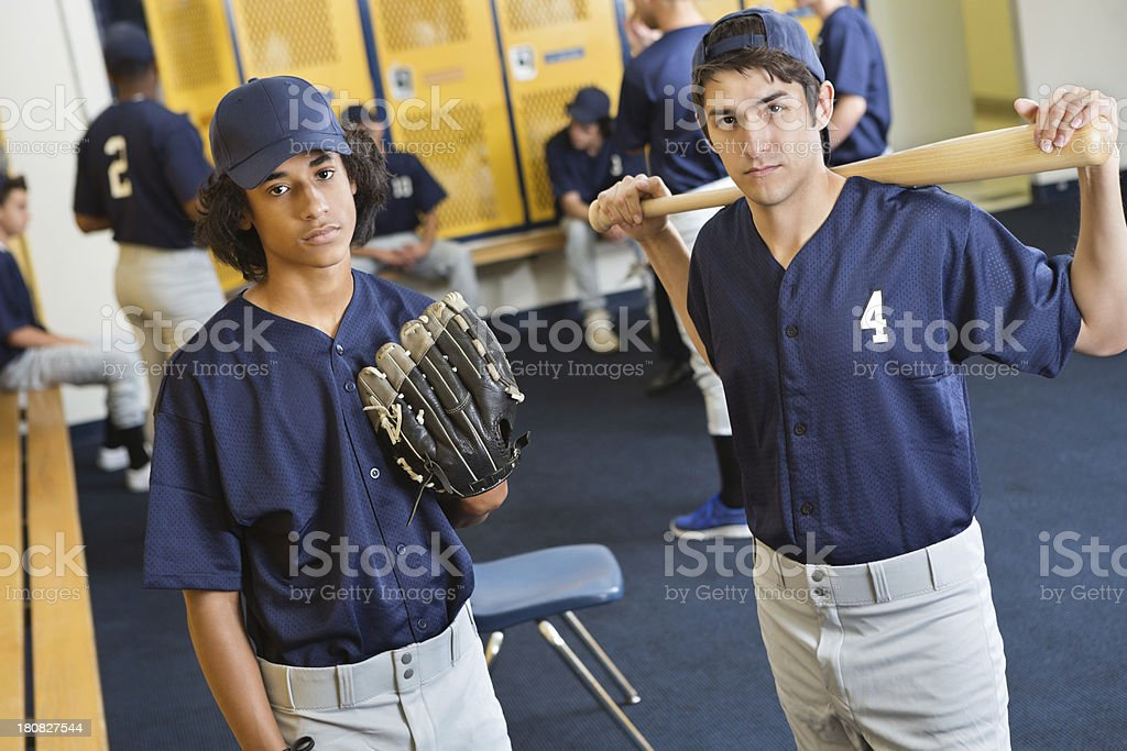 High school baseball team in locker room after losing game royalty-free stock photo