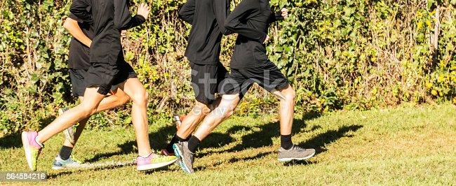 986840244 istock photo High school boys cross country team running 864584216