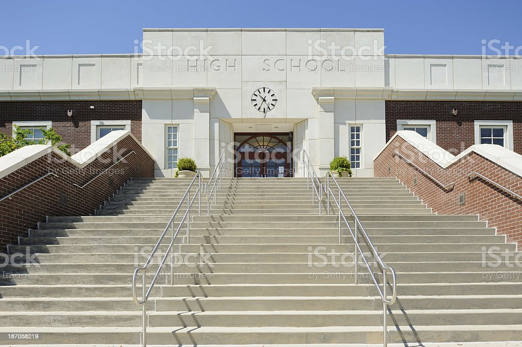 High school entrance royalty-free stock photo