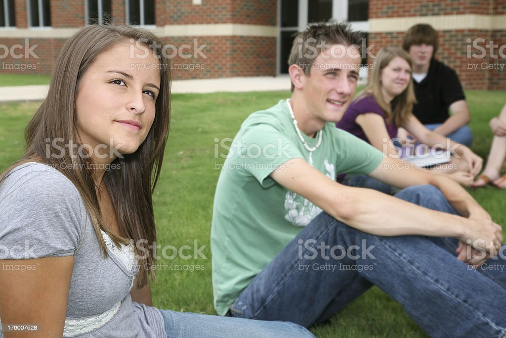 High School Girl Dreaming After Class royalty-free stock photo