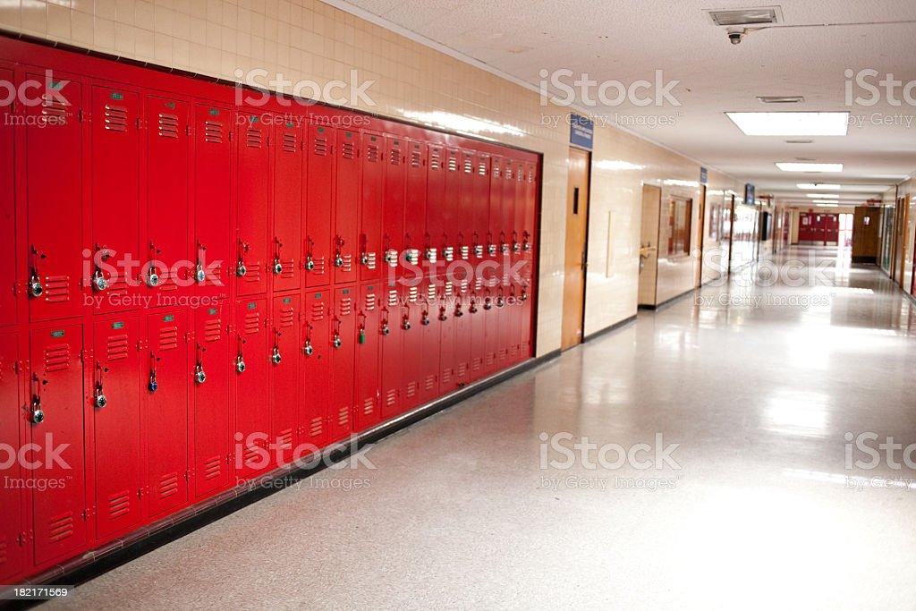 high school hallway and lockers royalty-free stock photo