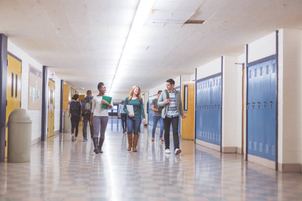 High School Hallway stock photo