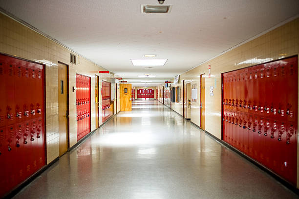 high school hallway with lockers - corridor stock photos and pictures