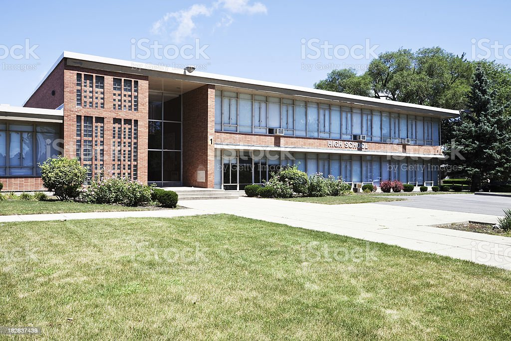 High School in Portage Park, Chicago royalty-free stock photo